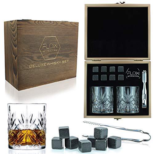 FLOW Barware Ensemble de verres à whisky en cristal italien rétro avec pierres à whisky dans coffret cadeau en bois Parfaits pour le scotch, le bourbon, le gin-tonic et autres cocktails