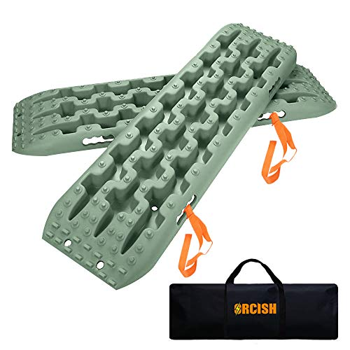 Cheap ORCISH Recovery Traction Boards Tracks Tire Ladder for Sand Snow Mud 4WD(Set of 2), Olive