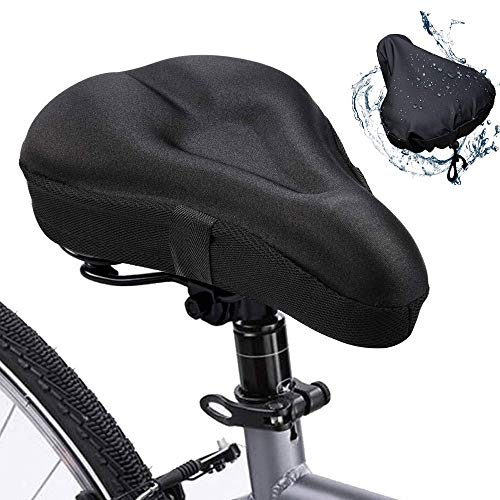 TUSIN Bike Seat Cover, Bike Seat Cushion, Gel Soft Bicycle Seat Cover, Bike Saddle Cushion Replacement Bicycle Saddle with Water & Dust Resistant Cover