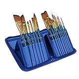 15pcs Arbolada Retención de nylon Pintura del cepillo del sistema de aceite del artista Acrílico Pintura Dibujo del color de agua suministros de pintura del cepillo del arte (Color : BLUE)