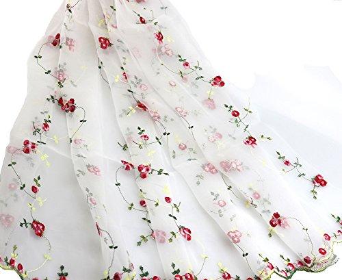 IRIZ130*90cm 可愛いローズ レースメッシュ スカートファブリック花柄刺繍生地 (レッド) [並行輸入品]