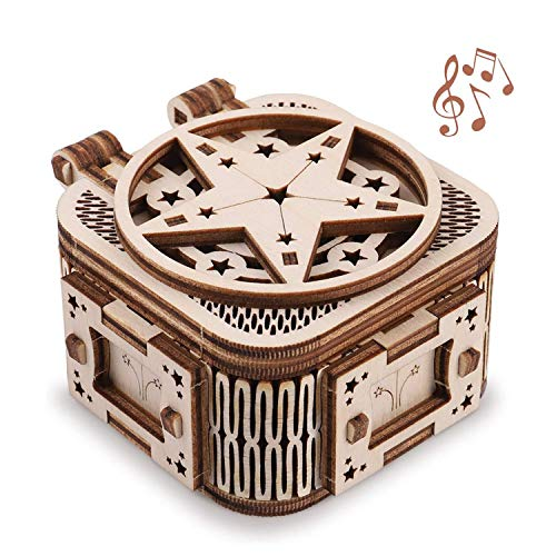 Mini Music Box 3D Puzzle, Handmade Wood Model Kit, 3D Wooden Puzzle for Adults Teens to Build, Mechanical Construction Build Your Own Laser Cut Jigsaw Puzzle Crafts, Gift Idea for Birthdays Christma