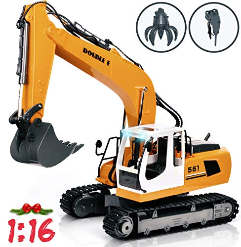 DOUBLE E Remote Control Truck RC Excavator Toy 17 Channel 3 in 1 Claw Drill Metal Shovel Real Hydraulic Electric RC Construction Vehicle with Working Lights