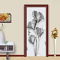 ZWYCEX ドアステッカー 現代のクリエイティブ抽象的な白い花のドア壁画PVC防水自己接着剤バスルームリビングルームのドアステッカーホームデコレーション (Sticker Size : 77x200cm)