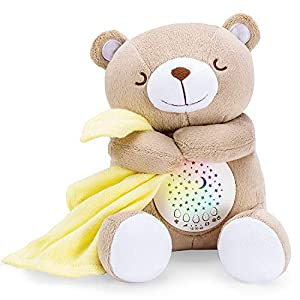 BEREST Rechargeable Baby Sleep Soother Smile Bear, Mom's Heartbeat Baby Cry Sensor Lullabies & Shusher Sound Soother, Nursery Decor Night Light Projector Toddler Crib Sleeping Aid, Baby Shower Gifts