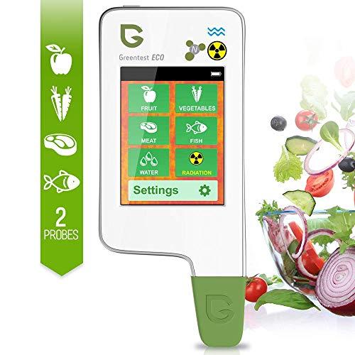 Probador de nitrato Greentest ECO 5F, medidor de agua digital de alta precisión TDS analizador de dureza PPM, detector Geiger de detector de radiación para frutas, verduras, carne, pescado, agua