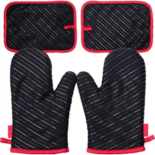Ofenhandschuhe und Topflappen, Hitzebeständige Handschuhe bis zu 300℃, Silikon Anti-Rutsch Grillhandschuhe, Geeignet für Kochen, Backen, Grillen, Schwarz