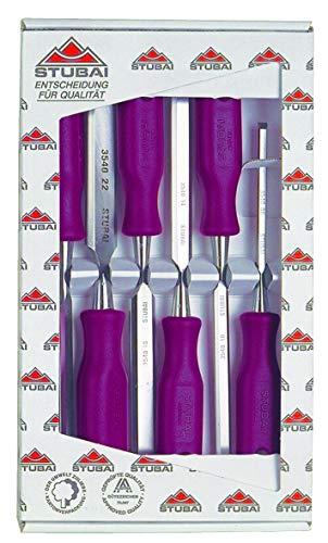 Stubai 9002793307794 Pack formón (Mango de plástico), rosso, mediano, Set de 6 Piezas