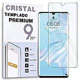 REY Protector de Pantalla Curvo para Huawei P30 Pro, Transparente, Cristal Vidrio Templado Premium,...