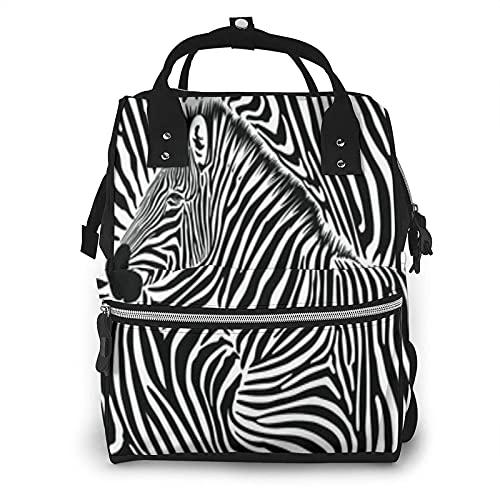 Zebra Wild Animal Negro Blanco Zebras Rayas Pañales Bolsa Multifunción Bolsas para el Cuidado del Bebé Impermeable Amplia Mochila de Viaje Abierta para Organización