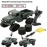 Bescita Militr RC Truck Armee 1:16 4WD verfolgt Rder Crawler Kettenrad Off-Road Auto RTR Spielzeug NEUZ (Schneerad + Vierrad) (Armeegrnc)