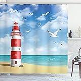 ABAKUHAUS Playa Cortina de Baño, Faro de Las gaviotas del océano, Material Resistente al Agua Durable Estampa Digital, 175 x 240 cm, bermellón Azul