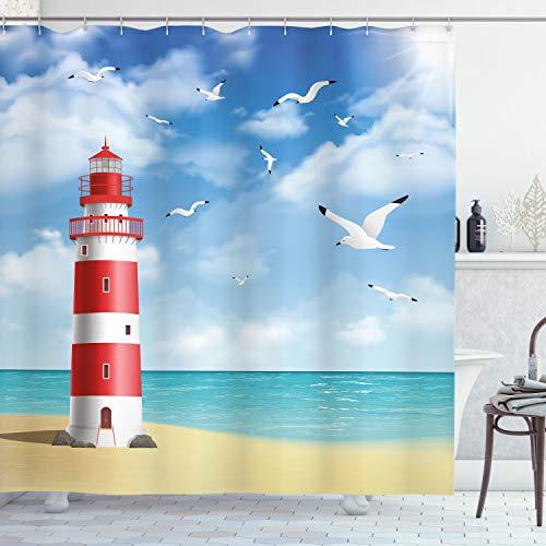 "Ambesonne Beach Shower Curtain, Realistic Illustration Lighthouse on Calm Seashore Flying Seagulls Ocean Scenery, Cloth Fabric Bathroom Decor Set with Hooks, 70"" Long, Vermilion Blue"