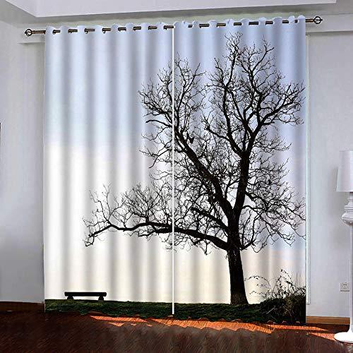 HANTAODG Gardine Gordijnen zwart boom patroon ondoorzichtig gordijnen verduisterend gordijn - ondoorzichtig gordijn met oogjes voor slaapkamer geluidsreductie 140 x 160 cm