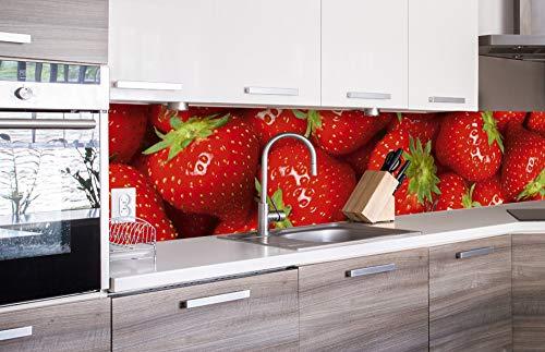 DIMEX LINE Küchenrückwand Folie selbstklebend ERDBEEREN | Klebefolie - Dekofolie - Spritzschutz für Küche | Premium QUALITÄT - Made in EU | 260 cm x 60 cm