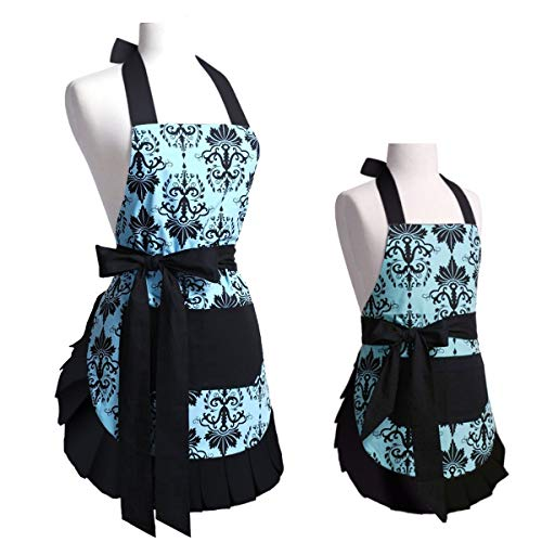 FirstKitchen Aqua Damask Mother and Child Apron Cooking Baking Apron with Pockets Christmas Mommy & Me Apron Set, Great Xmas Gift for Wife Ladies Kid Girls Daughters