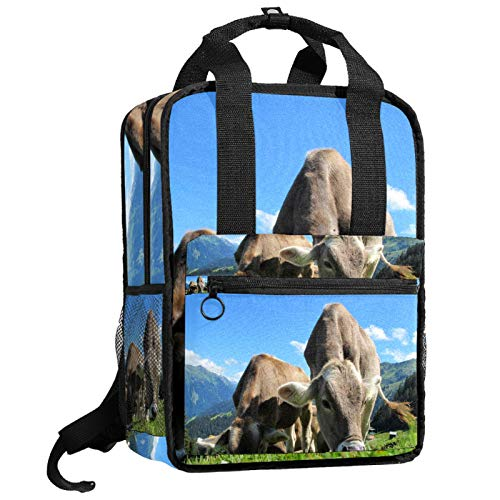 ATOMO Travel School Backpack Work Bag for Women&Men College Students baby cows eat grass