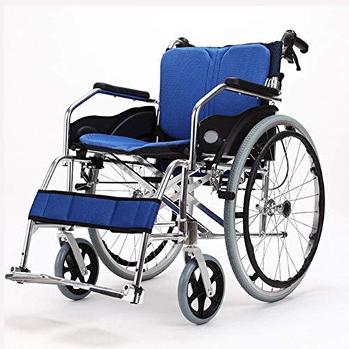 Shisyan Silla de rehabilitación médica, Silla de ruedas, minusválidos aleación de aluminio confortable silla de ruedas plegable de múltiples funciones ligero portátil de edad avanzada Médico Conducció