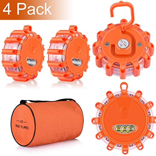 4 Pack LED Road Flares Emergency Beacon Safety Flare Flashing Warning Light for Car Truck Boat with Hook and Magnetic Base, 9 Flash Modes (Batteries Not Included) (4)