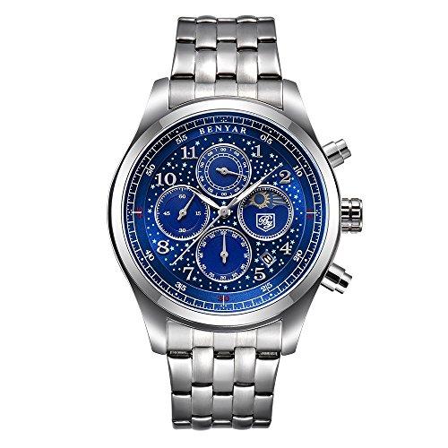 Benyar Herren-Armbanduhr Analog Quarz mit Edelstahl Armband BY-5122M