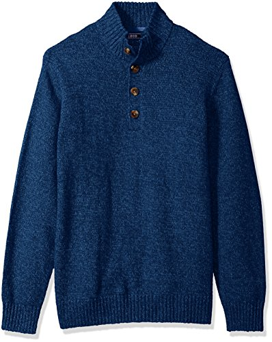 IZOD Men's Durham Buttoned Mock Neck Marled 7 Gauge Sweater, Estate Blue, XX-Large