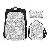 ZHOUWE Mochila con textura, bolsa de lonca, estuche para lápices, juego de 3 bolsas escolares para niños, Negro, Talla única