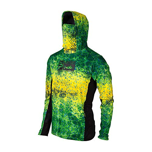 PELAGIC Exo-Tech Hooded Fishing Shirt | Size L | Green Dorado Hex