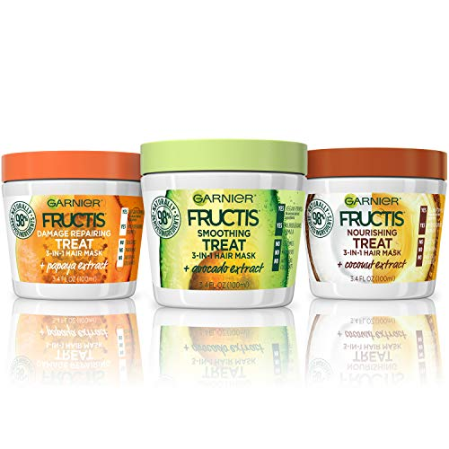 Garnier Hair Care Fructis Treats Variety Hair Masks with Nourishing Coconut, Damage Repairing Papaya, Smoothing Avocado, 3.4 Fl Oz (Pack of 3)
