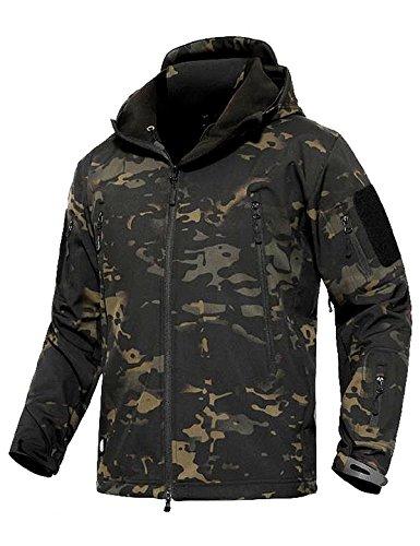 YFNT Tactisch softshell fleecejack camouflage militair hoodie outdoor wandelen kamperen warm binnenvoering winddicht waterdicht jas jassen ski-jack