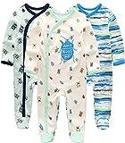 Kiddiezoom Baby Jungen Pyjama, eng-anliegend mit integrierten Schuhen, langarm, Baumwolle Gr. 80, Marienkäfer / Camouflage