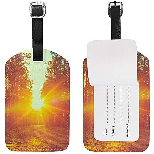 Sunset Misty Forest Kofferanhänger Leder für Gepäck Koffer 2 Stück
