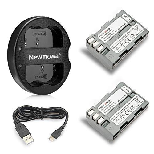 Newmowa EN-EL3 Batería de Repuesto (2-Pack) y Kit de Cargador Doble para Nikon EN-EL3e y Nikon D50, D70, D70s, D80, D90, D100, D200, D300, D300S, D700
