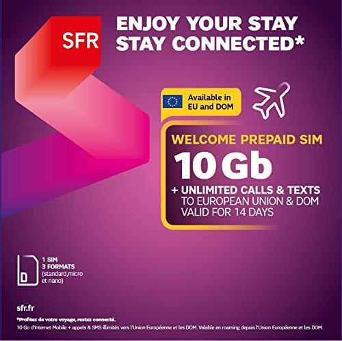 SFR Welkom Prepaid SIM 10 Gb + onbeperkt bellen en teksten naar Europa Unie en DOM