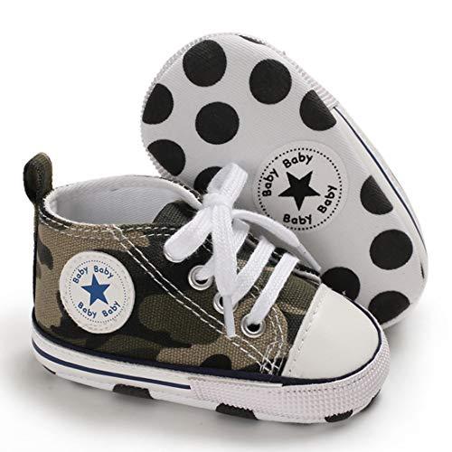 Babycute Lauflernschuhe aus Segeltuch, weiche Sohle, Freizeit-Sneaker für Babys, Jungen und Mädchen, zum Schnüren, Beige - A2 Camouflage - Größe: 12-18 Monate