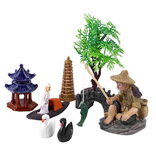 Cabilock Miniature Dollhouse Decoration Kit Fairy Garden Miniatures Sandbox Decorations Miniature Dollhouse Pots Decoration Zen Tray Items Desk Top Figurines Bonsai Craft Dollhouse Accessories