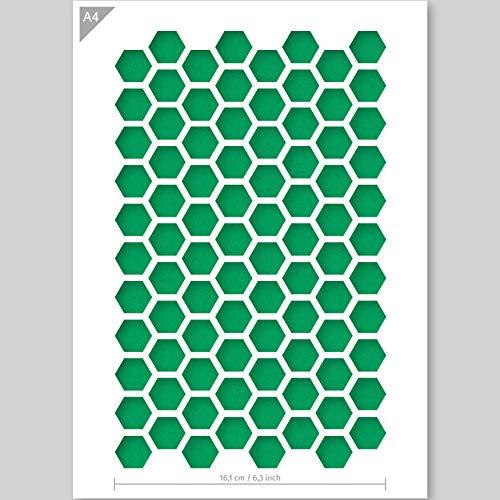 QBIX Hexagon Schablone – Wabenschablone – Muster Schablone – A4 Größe – Wiederverwendbare Kinderfreundliche DIY Schablone zum Malen, Backen, Basteln, Wand, Möbel