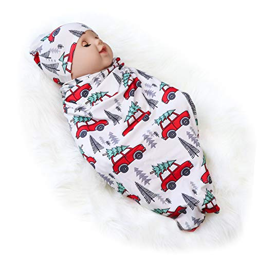 Newborn Swaddle Blanket with Beanie Set,Soft Stretchy Cocoon Sack Baby Boys and Girls(Car and Cedar)