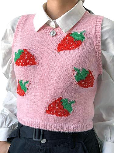 Women Streetwear Argyle Plaid Knitted Crop Sweater Vest V Neck 90S E-Grils Y2K Knitwear Crop Tank Top