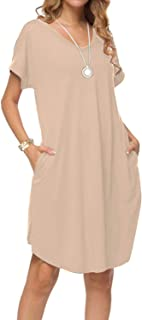 Women's Summer Casual Loose Dresses Short Sleeve V Neck Split Midi Dress with Pockets