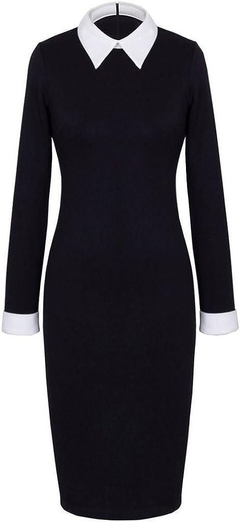 Emily Charm Women's Celebrity Collar Long Sleeve Business Pencil Suits Dress