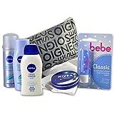 Handverpacktes Geschenk-Set Beauty Bag for WOMEN mit Nivea Shampoo und Haarspray sowie Pflegedusche und Hautcreme plus Bebe Lippenpflege und Kosmetiktasche perfekt für Reisen und...