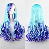 Blue Wigs for Women Gradient Long Blue Hair Wig with Bangs Colored Curly Wavy Wigs for Mermaid Cosplay Party Costume with A Wig Net (Blue Mixed Pink) BU040