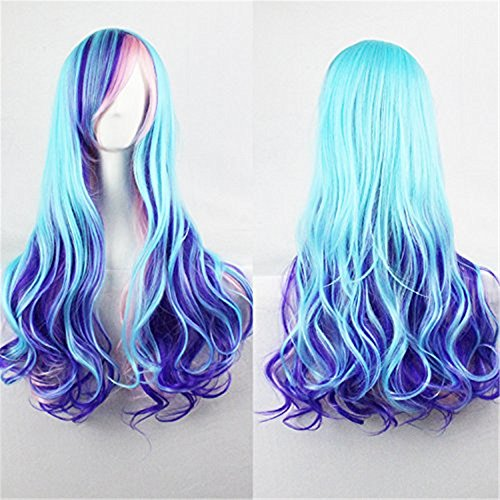 LUCKY-GIRL Upgrade Version Women Wigs Gradient Long Curly Hair Cosplay Party Costume Wig with A Hairnet (Blue Mixed Pink) BU040