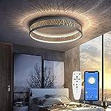LED Deckenleuchte Mit Fernbedienung und App-Steuerung Dimmbar Schlafzimmer Lampe, Deckenleuchte Rund Schwarz Gold Aushöhlen Design Wohnzimmer, Deckenlampe aus Eisen Esszimmer Büro Leuchten
