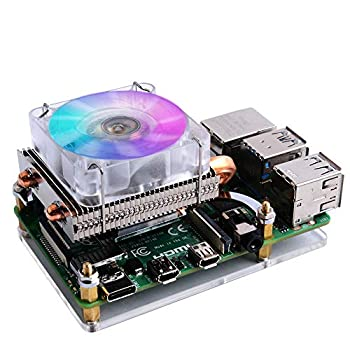 GeeekPi Raspberry Pi 4 Fan Raspberry Pi Low-Profile CPU Cooler with RGB Cooling Fan and Raspberry Pi Heatsink for Raspberry Pi 4 Model B & Raspberry Pi 3B+ & Raspberry Pi 3 Model B  Silver