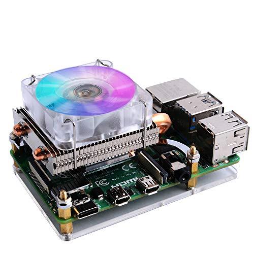GeeekPi Raspberry Pi Low Profile CPU Cooler, Raspberry Pi Horizontal Ice Tower Cooler, Ventilador RGB con Raspberry Pi Disipador térmico para Raspberry Pi 4 Modelo B y Raspberry Pi 3B +/3B