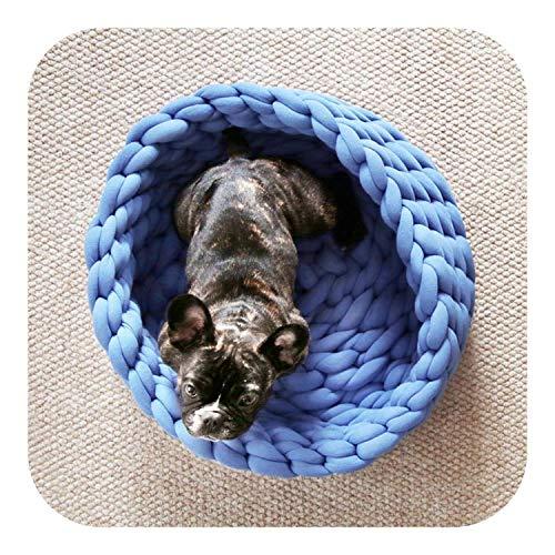 Memory Foam Hundebetten für große Hunde Haustier Zwinger Haustier Hund Katze Handgewebtes Bett Handgefertigtes Stricknest Haus Welpe Kätzchen Höhle Korb Schlafsack Hunde Zwinger Zubehör-Blau-XL,