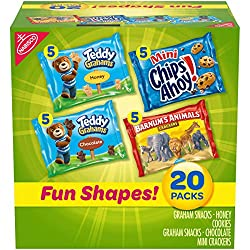 Nabisco Fun Shapes Variety Pack Barnum's Animal Crackers, Teddy Grahams and CHIPS AHOY! Mini, 20 - 1