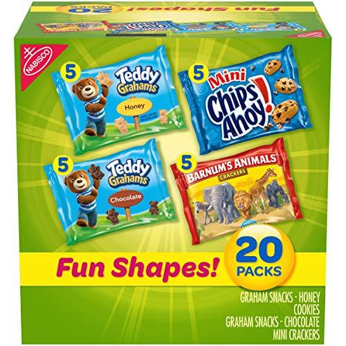 Nabisco Fun Shapes Variety Pack Barnum's Animal Crackers, Teddy Grahams and CHIPS AHOY! Mini, 20 - 1 oz Packs
