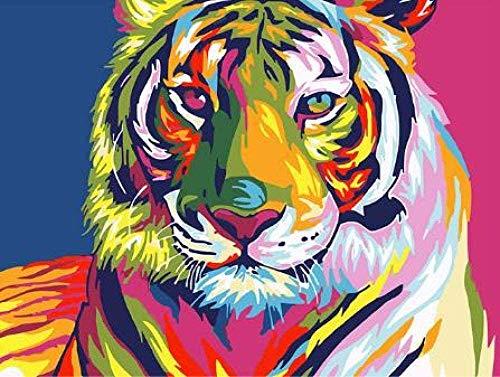 bksptop DIY 5D círculo completo pintura de diamante color animal león gato punto de cruz incrustaciones diamante bordado 40x50cm